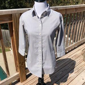 Uniqlo Gray and White Striped Shirt